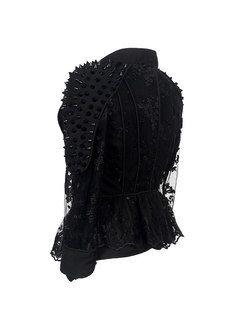 Black Lace Patchwork Rivet Slim Short Jacket
