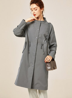 Mock Neck Drawstring Straight Trench Coat