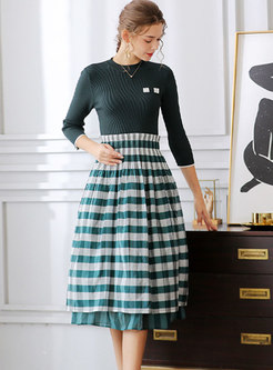 3/4 Sleeve Striped Patchwork Knitted Dress