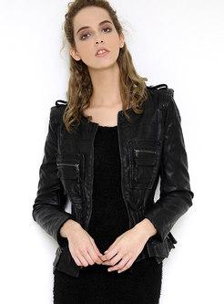 Black Short Slim PU Biker Jacket