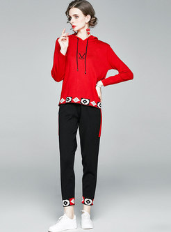 Casual Hooded Embroidered Sweater Pant Suits
