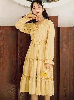 Square Neck High Waisted A Line Midi Dress