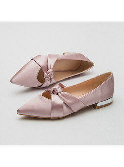 Pointed Toe Bowknot Suede Low Heel Shoes