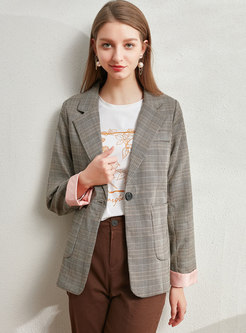 Notched Plaid Slim Office Blazer