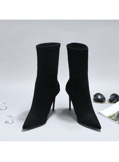 Black Pointed Toe Suede Short Boots