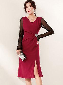 V-neck Sleeveless Beaded Ruched Suit Dress