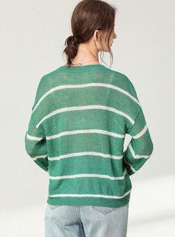 Plus Size V-neck Pullover Striped Sweater