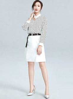 High Waisted A Line Office Skirt