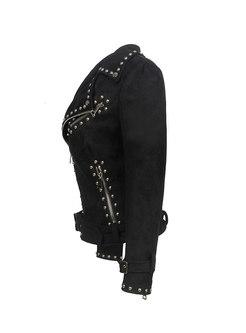 Long Sleeve Suede Rivet Biker Jacket