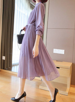Mock Neck Long Sleeve Pleated Shift Dress