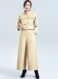 Stand Collar Casual Wide Leg Cargo Pant Suits