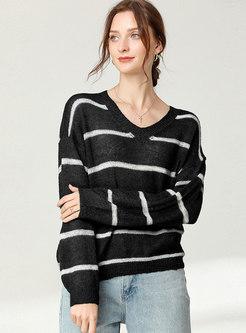 Color Block Striped Plus Size Sweater