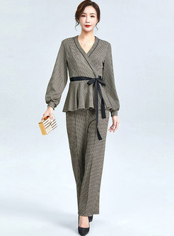 Long Sleeve Plaid Wide Leg Pant Suits