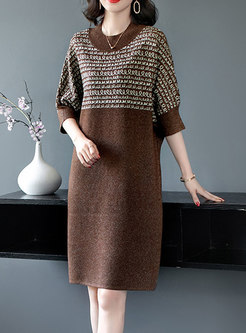 3/4 Sleeve Print Shift Sweater Dress