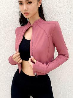 Front Zipper Cropped Yoga Jacket