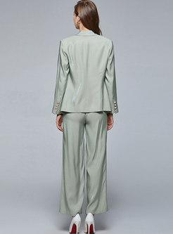 Notched Solid Color Wide Leg Pant Suits