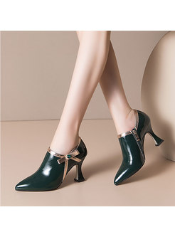 Pointed Toe Bowknot Side Zipper Pumps