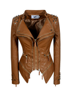 Lapel Rivet Slim Washed PU Biker Jacket