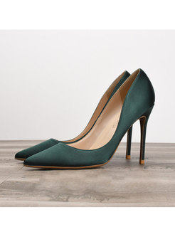 Satin Pointed Toe Low-fronted Pumps