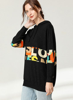 Hooded Letter Print Pullover Sweater