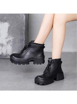 Fringed Rounded Toe Platform Ankle Boots