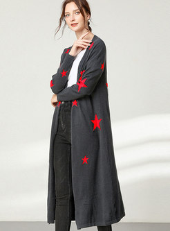 Plus Size Print Straight Sweater Coat