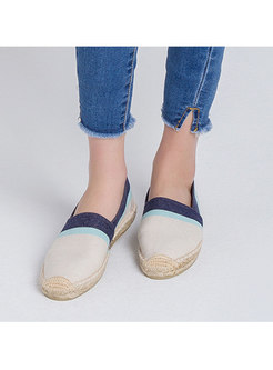 Color Block Rounded Toe Flat Espadrilles