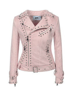 Rivet Long Sleeve Side Zipper Biker Jacket