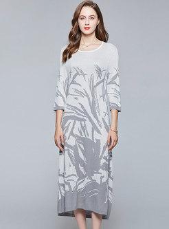 3/4 Sleeve Ink Print Shift Sweater Dress