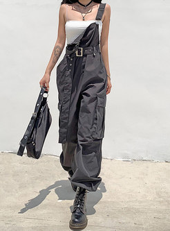 Black High Waisted Ankle-tied Overalls