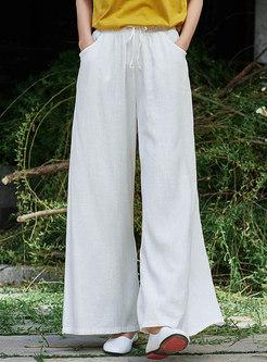 Drawcord Linen Wide Leg Pants