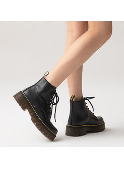 Black Round Toe Shoelace Ankle Boots