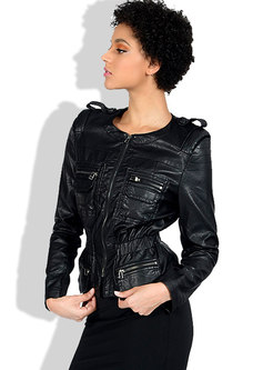 Crew Neck Slim Washed PU Biker Jacket