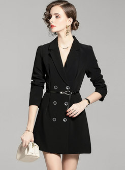 Notched Double-breasted A Line Mini Dress