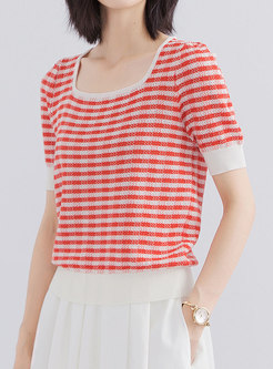 Square Neck Stripe Pullover Knit Top