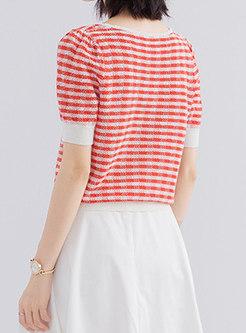Square Neck Stripe Pullover Knit Top