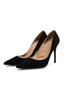Pointed Toe Plush Low-fronted Pumps