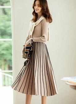 Mock Neck Pullover Stripe A Line Knitted Dress