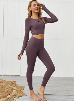 Long Sleeve Openwork Crop Top & Sport Yoga Pants