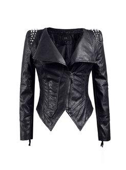 Black Rivet Lapel PU Biker Jacket