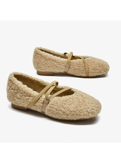 Round Toe Lambswool Low-fronted Loafers