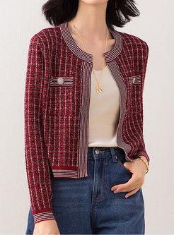 Plaid Short Crew Neck Sweater Coat