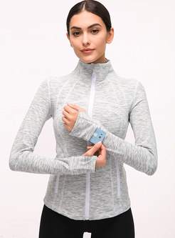 Mock Neck Long Sleeve Tight Sport Jacket