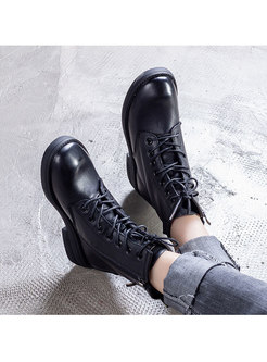 Round Toe Flat Ankle Boots With Shoelace