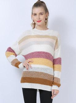 Pullover Stripe Crew Neck Loose Sweater