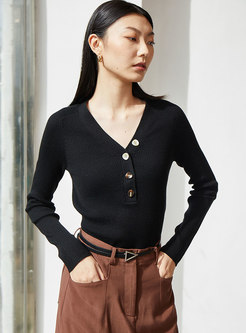 V-neck Pullover Buttoned Pure Color Sweater