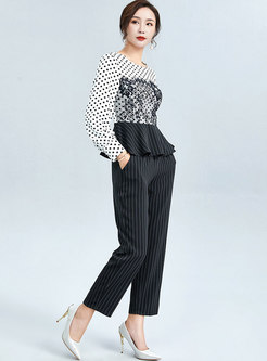 Polka Dot Patchwork Lace Stripe Pant Suits