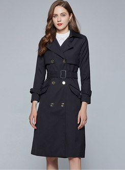 Double-breasted Belted Knee-length Trench Coat