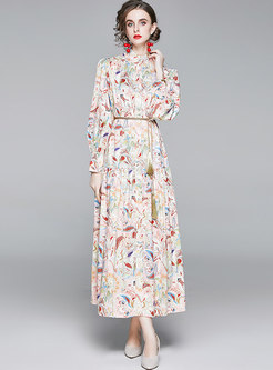 Print Mock Neck Puff Sleeve Maxi Dress
