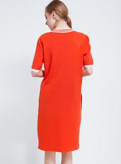 Half Sleeve Shift Knee-length Knitted Dress